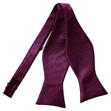 Plum Mens Self-Tie Bow Tie Satin Plain Solid FREE Pocket Square by DQT