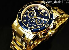Invicta Men's 48mm PRO DIVER Scuba Chronograph 18K GP Admiral Blue Dial SS Watch