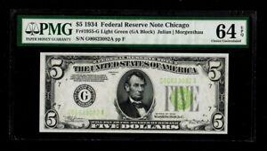 Fr.1955-G $5 1934 Light Green Seal Federal Reserve Note. PMG Gem Uncirculated 64