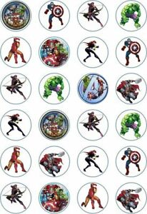 24 x Edible Cupcake Toppers - Rice / Wafer Paper - Perfect for Avengers Fans