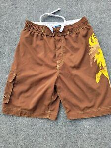 Corona Swim Trunks Shorts Brown W/ Yellow Graphic