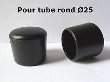 2 Bouchons embouts enveloppant pour tube rond pied de chaise PVC NOIR �˜ 25 mm