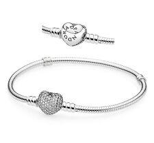 21cm Genuine PANDORA S925 ALE Moments Bracelet with Pavé Heart Clasp 590727CZ