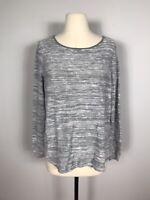 Eileen Fisher Gray and White Stripe Organic Linen Blend Knit Sweater Women's L