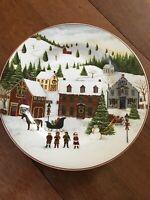Christmas Valley by Sakura Salad Plate David Carter Brown Village Scene Houses