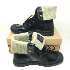 Palladium Men's Baggy Leather Lace-up Fold-over Midnight Green Boots Size 11