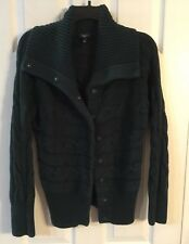 TALBOTS Green 100% Cotton Snap Front Cable CARDIGAN SWEATER Petites M