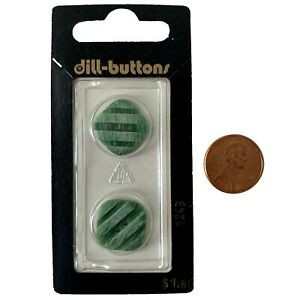 """Dill Buttons 11/16"""" 18MM Green Notched Stripe Rounded Square #1243 Germany Made"""