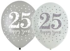 "** 6 X SILVER ANNIVERSARY 11"" LATEX BALLOONS HELIUM 25 YEARS 25th PARTY WEDDING"