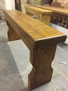 Small antique coloured  pine bench 2 seater kitchen