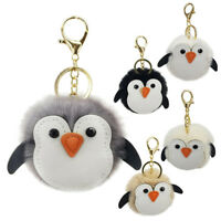 Soft Fluffy Faux Penguin Pompom Ball HandBag Pendant Cars Key Chain Key'R w/
