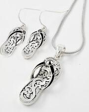 BEACH BOUTIQUE * FLIP FLOPS silver necklace earrings NWT Black rhinestone 6426