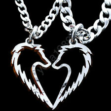 Tribal Wolves Pendant Necklace Couples Jewelry Handcrafted Heart coin for lover