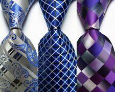 3 pcs New Classic Plaid JACQUARD WOVEN 100% Silk Men's Tie Necktie