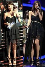 TOV Black Layered Mesh Hi-Low Corset Dress Women's 38 S Selena Gomez New $126