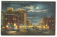 Vintage Linen Postcard GA Macon View of Cherry Street Looking East at Night