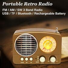 bluetooth Portable Retro Wireless Radio Bass Speaker AM FM AUX USB TF Card
