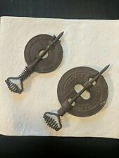 """2 Lot 4+5"""" Antique Cast Iron Stove Pipe Damper Spindle Reversible Stover 1915"""