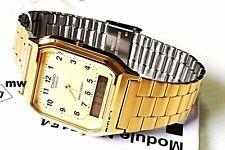 Original Casio Watch Dual Time Gold Man's Quartz Watch AQ-230GA-9 9B AQ230 NEW