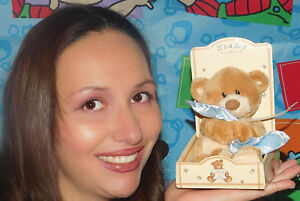 """Gund Thinking of You """"It's A BOY"""" Bear BLUE Blanket Baby Brown TOY PLUSH NEW 5"""""""