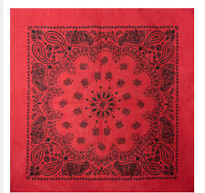 Exra Large XL Western Paisley Bandana Scarf Black on Red 27 inches 100% Cotton