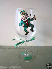 Hand Painted Wine Glass - St. Patrick Day  Leprechaun  12 oz. Glass