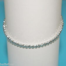RHODIUM PLATED Sterling Silver 925 3mm LASER CUT BEADS ANKLET Made to Your Size