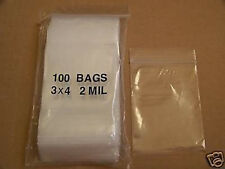 PLASTIC BAG 3x4 zip lock clear bags small organizer jewerly seeds pouch poly 100