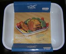 2 x Falconware Enamel  Blue & White Roasting Oven Baking Trays - 31cm x 25cm