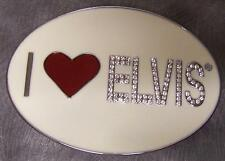 Pewter Belt Buckle music I Love Elvis rhinestones NEW