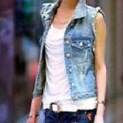 Women Lady Vintage Frayed Cardigan Denim Vest Jean Waistcoat Jacket Outerwear