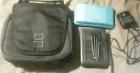 nintendo ds w 5 games, game carry case, travel case, charger and 4 stylus