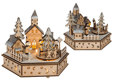 Natural wooden winter village with music & warm white LED XMAS