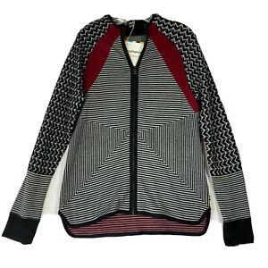 Smartwool Womens L Dacono Ski Full Zip Sweater Black Merino Wool Knit NWT Stripe