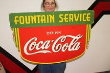 "New ListingLarge Coca Cola Fountain Service Soda Pop Gas Oil 2 Side36"" Porcelain Metal Sign"
