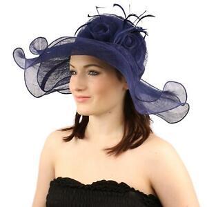 """Romance Summer Kentucky Derby 5-1/2"""" Brim Layer Floppy Flower Feathers Hat Navy"""