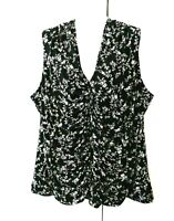 WOMEN'S WHITE HOUSE BLACK MARKET FLORAL SLEEVELESS LINED STRETCHY RUCHED TOP 3X