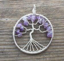 NATURAL AMETHYST TREE OF LIFE  WIRE WRAPPED PENDANT STONE GEMSTONE