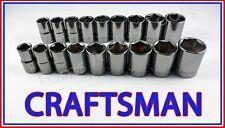 CRAFTSMAN 18pc 1/2 Gunmetal Chrome SAE&METRIC MM 6pt Ratchet Wrench Socket Set