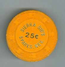 Vintage Sierra Sid's Casino, Sparks, Nevada, 25 Cent Gaming Chip