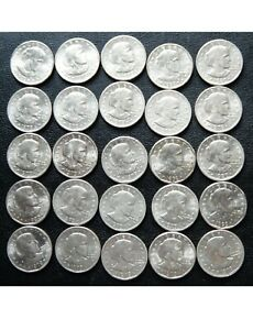 (50) 1979-D, 1980-D, 1999-D SUSAN B ANTHONY DOLLARS BRIGHT WHITE BUSINESS 2 ROLL