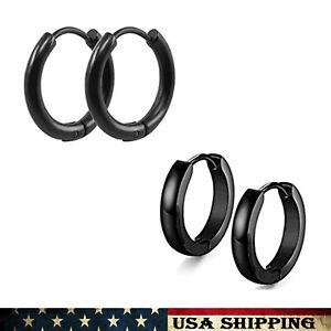 Black Hoop Stainless Steel Earrings Huggie Piercing for Men Women 2Pairs 2Styles