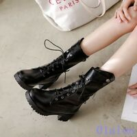 Womens Cross Strap Round Toe Mid Calf Boots Block Shoes Ankle Boot Motorcycle WU