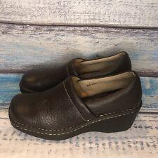 Born W9898 Women's SZ US 8 EU 39 Brown Pebble Leather Comfort Slip On Clogs