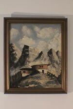 Gemälde Bild Öl Landschaft Gebirge mit Almhütte sign. Kippel  #4232