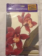 Party Express/Hallmark Orchids Invitations Bridal Brunch Dinner Party (8) VTG