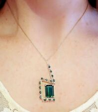 Green Tourmaline and Diamond Pendant Necklace in 18k Yellow Gold - HM1836
