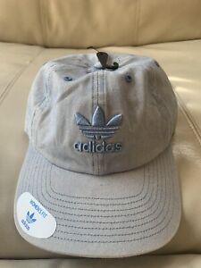 NWT Womens Adidas Trefoil Light Blue Denim Dad Hat Cap $26