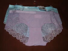 2 NEW JESSICA SIMPSON MICROFIBER & LACE BACK/FRONT PANELS HIPSTER PANTIES S