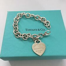 "Return To Tiffany & Co, Silver Heart Tag Link 6.75"" Silver Bracelet ENGRAVED RFA"